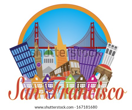 San Francisco Cailfornia Abstract Downtown City Skyline with Golden Gate Bridge and Cable Car Isolated on White Background Raster Illustration - stock photo