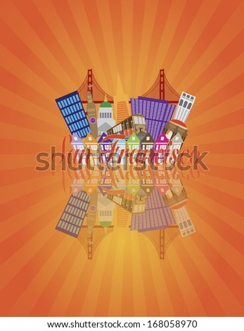 San Francisco California Abstract Downtown City Skyline with Golden Gate Bridge and Cable Car and Reflection Isolated on Sun Rays Background Raster Illustration - stock photo