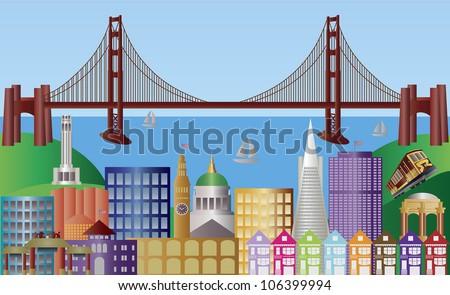 San Francisco California City Skyline with Golden Gate Bridge and Landmarks Panorama Raster Vector Illustration - stock photo