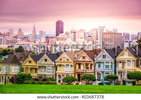 San Francisco, California cityscape at Alamo Square. - stock photo