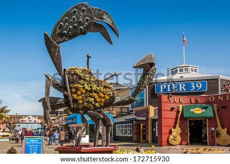 SAN FRANCISCO, CALIFORNIA - FEB 25: Pier 39 fisherman's wharf at San Francisco on February 25, 2008. Pier 39 is a famous tourist spot in San Francisco area and usually crowded in the weekend. - stock photo