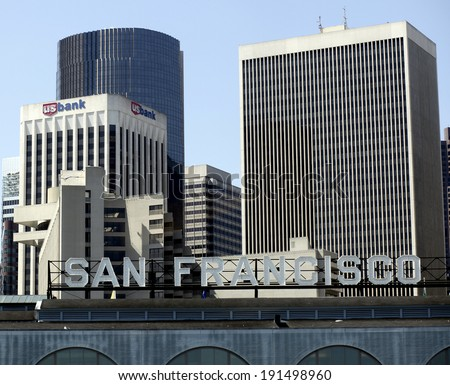 SAN FRANCISCO, CALIFORNIA - FEBRUARY 5, 2013 - The skyline of downtown San Francisco is peppered with financial institutions, a legacy of the city�s port location during the 1849 Gold Rush. - stock photo
