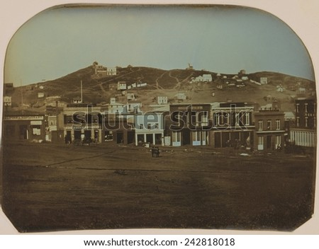San Francisco, California in 1851. Daguerreotype of Portsmouth Square with restaurants and shops. - stock photo