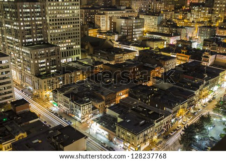 SAN FRANCISCO, CALIFORNIA - JAN 13: Night view of Chinatown tourist area.  San Francisco's 80% hotel occupancy has pushed average room rates above $155 per night on Jan 13, 2013 in San Francisco, Ca. - stock photo