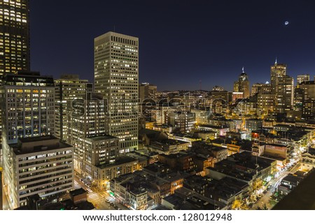 SAN FRANCISCO, CALIFORNIA - JAN 13: Night view of Nob Hill tourist area.  San Francisco's 80% hotel occupancy has pushed average room rates above $155 per night on Jan 13, 2013 in San Francisco, Ca.