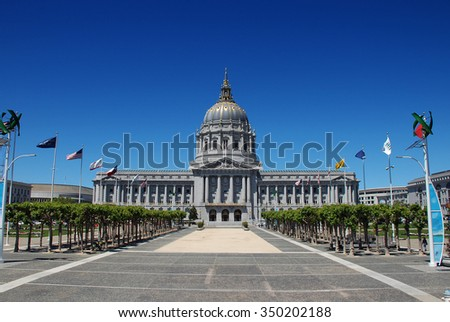 San Francisco, California - June 19 2011: City Hall is the Beaux-Arts architecture building locating in the city's civic center.