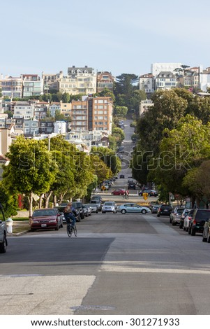 San Francisco, California - May 11 : hillside full of homes with a unique style in the residential area, May 11 2015 San Francisco, California.