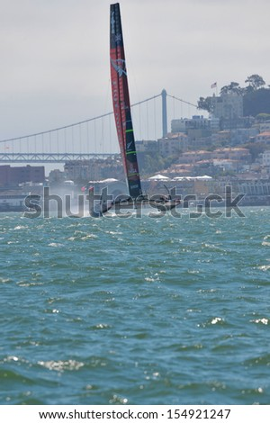 SAN FRANCISCO, CALIFORNIA � SEPTEMBER 14: Team New Zealand speeds through the course during the America�s Cup Finals in San Francisco Bay on September 14, 2013 in San Francisco, California.