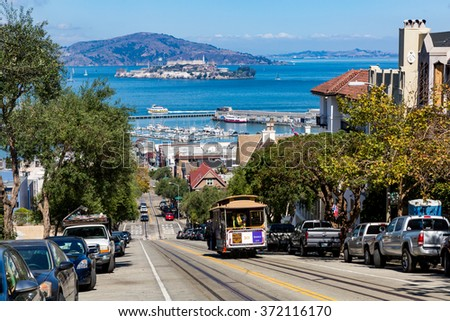 SAN FRANCISCO, CALIFORNIA - SEPTEMBER 17: View of the Hyde Street in direction North in San Francisco on September 17, 2015. This view provides a nice view to the streets of San Francisco. - stock photo