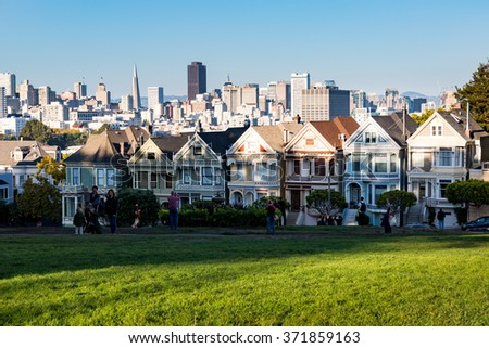 SAN FRANCISCO, CALIFORNIA - SEPTEMBER 17: Views of the skyline of San Francisco with its typical houses on September 17, 2015. San Francisco is popular by tourist and one of the biggest cities in US.