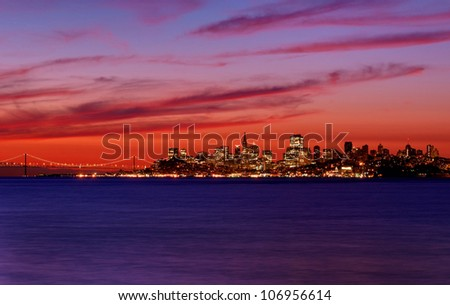 San Francisco, California skyline overlooking the San Francisco Bay at sunrise. - stock photo
