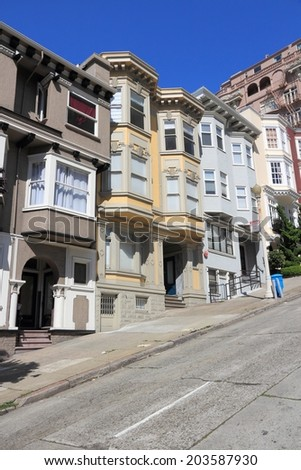 San Francisco, California, United States - beautiful old architecture in Nob Hill area. - stock photo