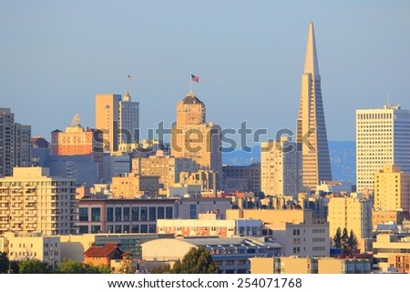 San Francisco, California, United States - city skyline in sunset light. - stock photo