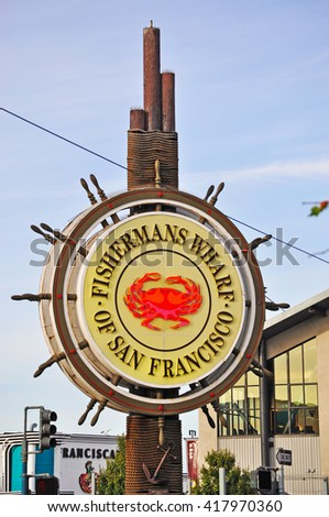 San Francisco, California, Usa: an helm with a crab, the symbol of Fishermanâ??s Wharf  on 9 June 2010. Fisherman's Wharf is  one of the most tourist neighborhoods in San Francisco