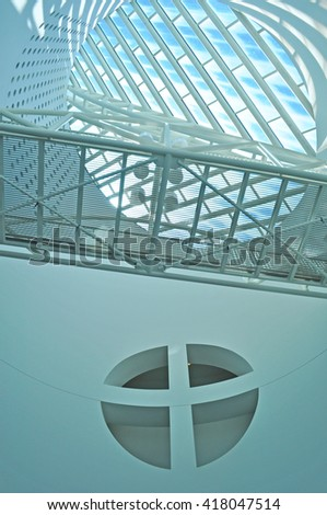 San Francisco, California, Usa: architectural details of the atrium of Moma Museum on June 9, 2010. Moma is a modern art museum, the first on the West Coast devoted solely to 20th century art - stock photo