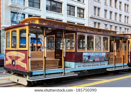 SAN FRANCISCO, CALIFORNIA/USA - AUGUST 6 : Cablecar in San Francisco on August 6, 2011. Unidentified people.