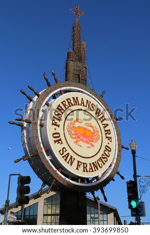 San Francisco, California, USA - December 23, 2015: Fisherman's Wharf is a world famous tourist's attraction and a thriving and vibrant local neighborhood and commercial area.