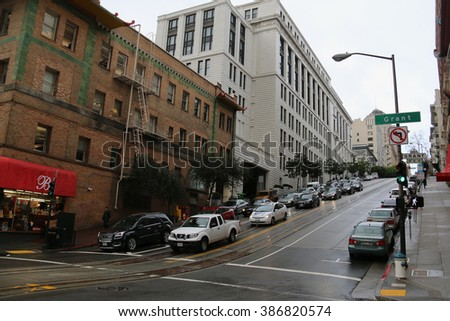 San Francisco, California, USA - December 22, 2015: San Francisco is a popular tourist destination known for its cool summer, fog, steep rolling hills, eclectic mix of architecture.