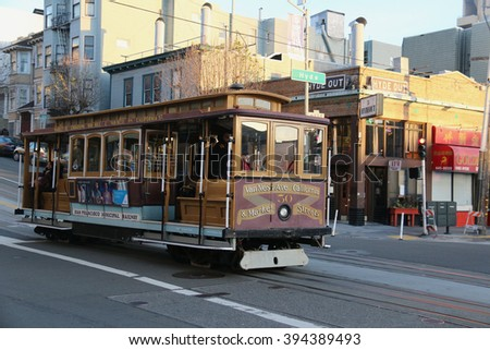San Francisco, California, USA - December 23, 2015: The San Francisco cable car system, an icon of San Francisco, is the world's last manually operated cable car system.