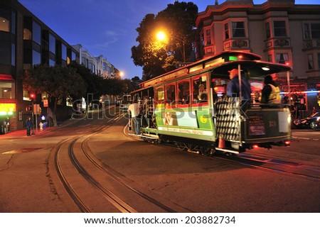 SAN FRANCISCO, California, USA, - NOVEMBER. 16. 2011: The Cable car tram in San Francisco, world's last manually-operated cable car system, icon of San Francisco - stock photo