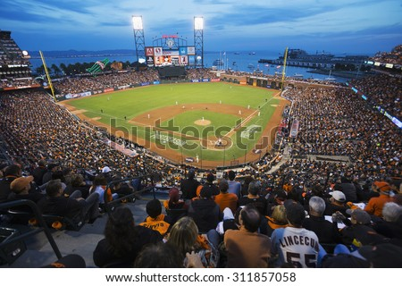San Francisco, California, USA, October 16, 2014, AT&T Park, baseball stadium, SF Giants versus St. Louis Cardinals, National League Championship Series (NLCS), crowd watches game elevated view