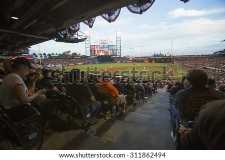 San Francisco, California, USA, October 16, 2014, AT&T Park, baseball stadium, SF Giants versus St. Louis Cardinals, National League Championship Series (NLCS), crowd watches game - stock photo