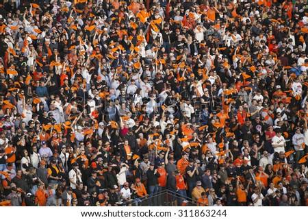San Francisco, California, USA, October 16, 2014, AT&T Park, baseball stadium, SF Giants versus St. Louis Cardinals, National League Championship Series (NLCS), crowd in orange - stock photo