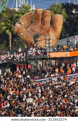 San Francisco, California, USA, October 16, 2014, AT&T Park, baseball stadium, SF Giants versus St. Louis Cardinals, National League Championship Series (NLCS), giant glove and crowd leftfield - stock photo