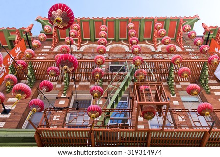 San Francisco Chinatown Building Festival Lanterns - stock photo