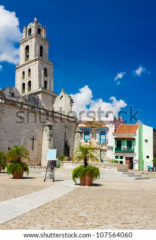 San Francisco church and its adjacent square in Old Havana, a famous touristic landmark on the colonial city - stock photo