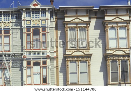 SAN FRANCISCO - CIRCA 1980's: Victorian houses in San Francisco's Mission District in San Francisco, CA