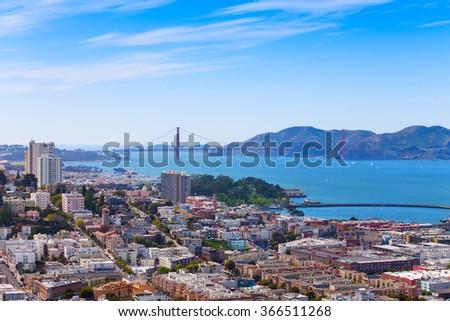 San Francisco city bay and Golden Gate bridge - stock photo