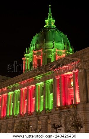 San Francisco City Hall in Christmas Green and Red Colors, Lights - stock photo
