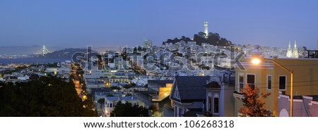 San Francisco city panoramic view at night - stock photo