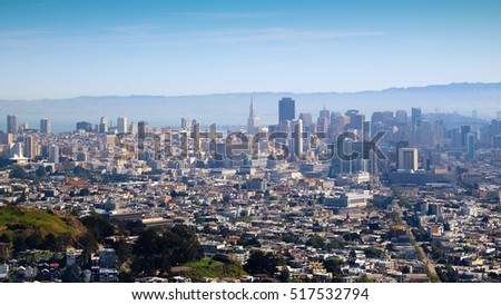 San Francisco City scape view from Twin Peaks.