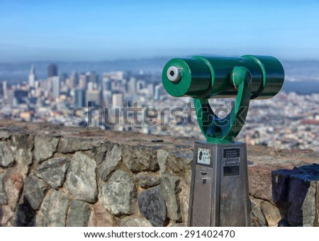 San Francisco city view from Twin Peaks with telescope - stock photo