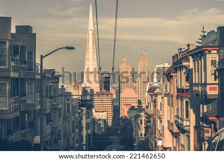 San Francisco Cityscape at Sunset with Downtown Skyscrapers in a Distance. San Francisco, California, USA. San Francisco Architecture in Vintage Color Grading. - stock photo
