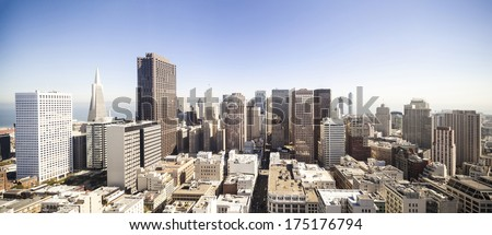 San Francisco cityscape panorama from the top of skyscraper - stock photo