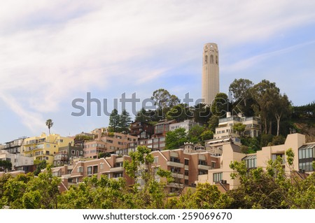 San Francisco cityscape  scenic in the area of Coit Tower - stock photo
