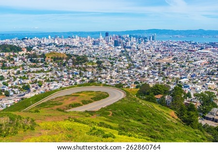 San Francisco Daylight Panorama. San Francisco Twin Peaks, California, United States. - stock photo