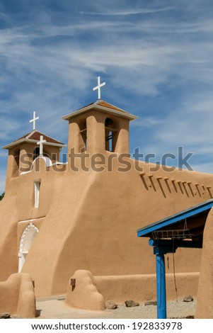 San Francisco de Asis Mission Church in New Mexico - stock photo
