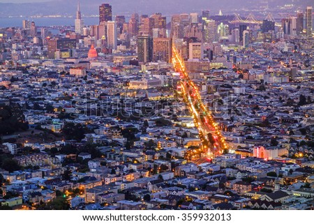 San Francisco Downtown with Market street photographed from Twin Peaks at dusk, California, USA.