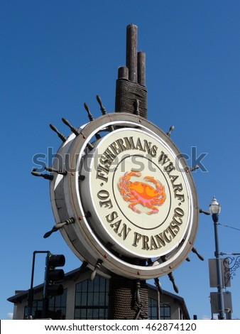 SAN FRANCISCO - FEBRUARY 28: Fishermans Wharf of San Francisco central logo sign. February 28, 2011 San Francisco, California.  Fisherman's Wharf is popular tourist attraction.