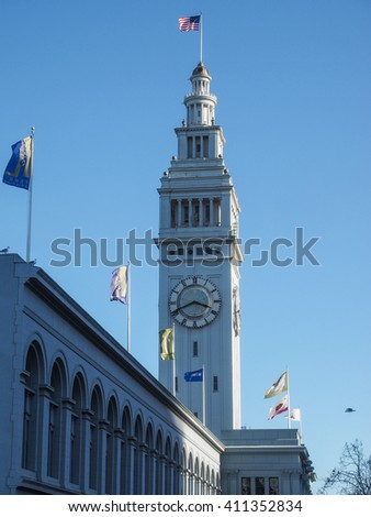 San Francisco Ferry Building is a terminal for ferries that travel across the San Francisco Bay, a food hall and an office building. It is located on The Embarcadero in San Francisco, California. - stock photo