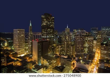 San Francisco Financial District Skyline at Night - stock photo