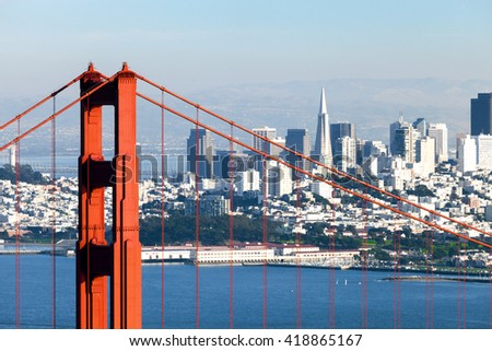 San Francisco from San Francisco Headlands and Golden Gate bridge