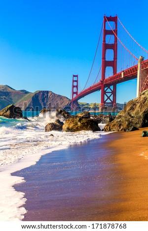San Francisco Golden Gate Bridge GGB from Marshall beach in California USA - stock photo