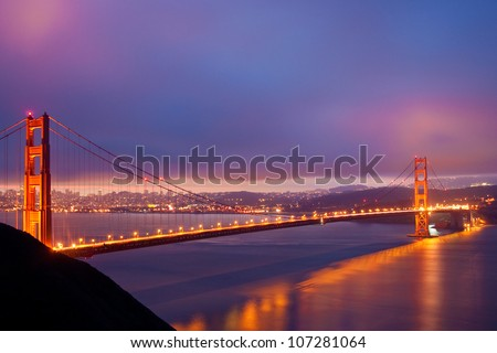 San Francisco Golden Gate Bridge just before dawn - stock photo