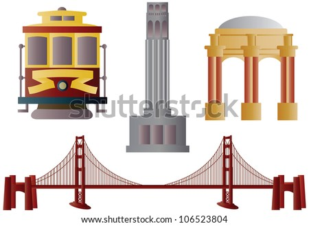 San Francisco Golden Gate Bridge Trolley Coit Tower and Palace of Fine Arts Raster Vector Illustration - stock photo