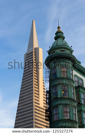 San Francisco Icons Transamerica Pyramid and the Columbus Building - stock photo